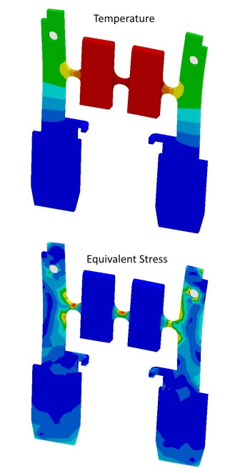 Temperature and equivalent stress simulation of an automotive fuse. (Image courtesy of ANSYS.)