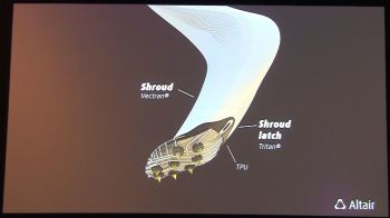 The Altair engineering team's latest blade design includes a shroud to cut through the aerodynamic drag and a rounded heel to help runners around corners. Finding a way to improve the runner's balance is still a challenge. (Image courtesy of Altair.)