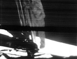 Astronaut Neil Armstrong approaching the lunar surface