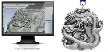 ArtCAM Pro stands out in the ArtCAM line due to its ability to accommodate very intricate designs. (Image courtesy of Aitkens Pewter.)