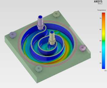 Contours of temperature on a CPU water cooler are shown for a case solved using ANSYS AIM and conjugate heat transfer.