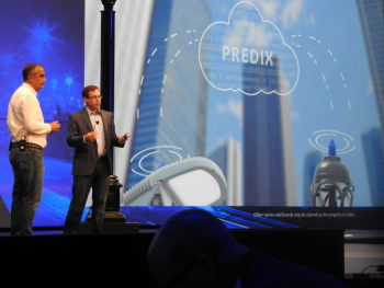 Brian Krzanich of Intel and John Gordon from GE present at IDF 2016. (Image courtesy of Dean Takahashi.)