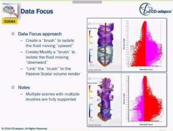 The Data Focus tool collects numerical data and mixes them with a visual simulation scene. (All Images courtesy of CD-adapco.)