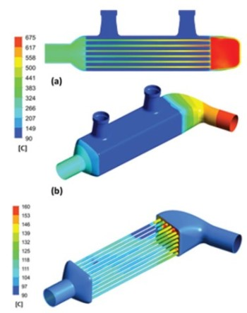 Simulation of EGR coolant temperature at tube walls.