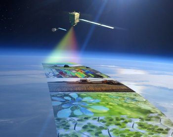The Fluorescence Explorer (FLEX) mission is ESA's eighth Earth Explorer. FLEX will provide global maps of vegetation fluorescence, which can be converted into an indicator of photosynthetic activity. This new information will improve our understanding of how much carbon is stored in plants and the role of plants in the carbon and water cycles. FLEX was selected in November 2015 and is expected to be launched by 2022. (Image courtesy of ESA.)