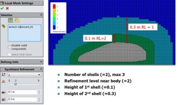 Mesh refinement based on distance from the model's surface. (All images courtesy of Mentor Graphics.)