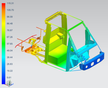 Simulation displacement results of the Westward Industries GO-4 vehicle frame. Image courtesy of CIC.