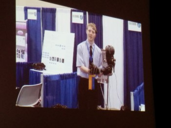 Mr LaChappelle gives his home made brain wave controlled prosthetic a handshake.