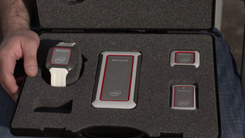 "Prototypes of ""Connected Worker"" safety sensors. (Image courtesy of Honeywell.)"