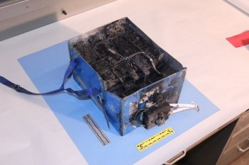 Japan Airlines Boeing 787 Li-battery fire of 2013. Courtesy of National Transportation Safety Board.