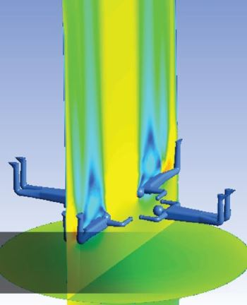 Simulation of one of KeelWit's vertical wind tunnels. (Image courtesy of ANSYS.)