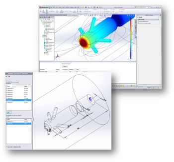 SOLIDWORKS One Window Interface allows for COMSOL simulations within the CAD user interface.