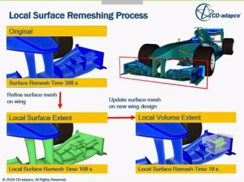 Local surface remeshing saves time in pre-processing and redesigns.
