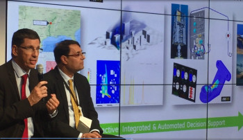 Eric Banegnie (left), vice president, ANSYS systems business unit announces partnership. Image courtesy of ANSYS.