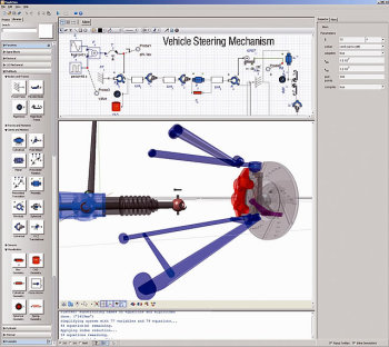 System level simulation in MapleSim features drag-and-drop functionality. (Image courtesy of Maplesoft.)