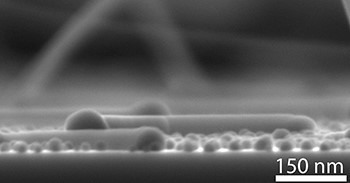 An image of a nanocrawler, a horizontal nanowire that crawls along a graphene surface. (Image courtesy of Carnegie Mellon University.)