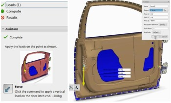 SIMULIA template guides users through the forest by helping them define load definitions for a door sag analysis. (Image courtesy of Dassault Systèmes.)