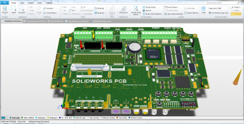 SOLIDWORKS PCB blurs the line between the mechanical and electrical CAD design. (Image courtesy of Dassault Systèmes SOLIDWORKS.)