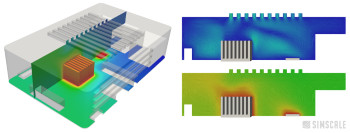 CHT simulation of a heat sink. Image courtesy of SimScale.
