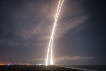 Cape Canaveral sky during the mission. (Photo courtesy of SpaceX.)