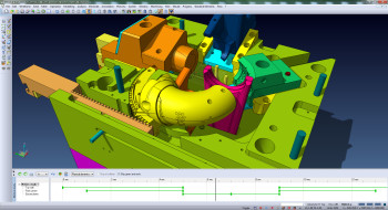VISI 21 mold tool sequencing and motion simulation of sliders, lifters and rack/pinion mechanisms.