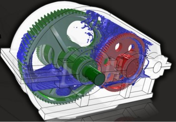 CFD simulation using XFlow to study the lubrication of a gearbox. (Image courtesy of Next Limit Dynamics.)