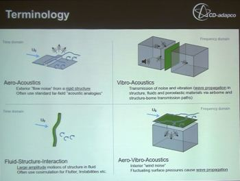 Definitions of aero-acoustics, FSI, vibro-acoustics and aero-vibro-acoustics. (All images taken at CD-adapco's North American Vehicle CFD Conference).