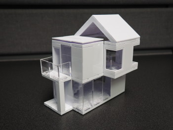 The physical model of my little cottage using Arckit 60. The model was quite sturdy and survived a few road-trips without incident. (Image courtesy of the author.)