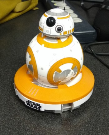 BB-8 on its charging station.