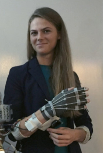 Brittany Presten, a star of Autodesk's intern program, has received offers to continue her biomechanics research at Stanford, Oxford and Autodesk. (Image from AU keynote.)