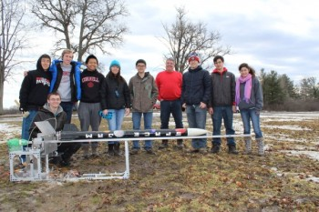 The Cornell University team and their rocket, Space Jam. (Image courtesy of Cornell University.)