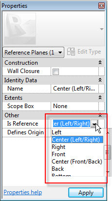 Figure 15. The Is Reference drop-down list.