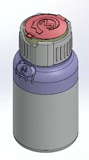 CAD design of child-safe bottle. (Image courtesy of Creative Mechanisms.)