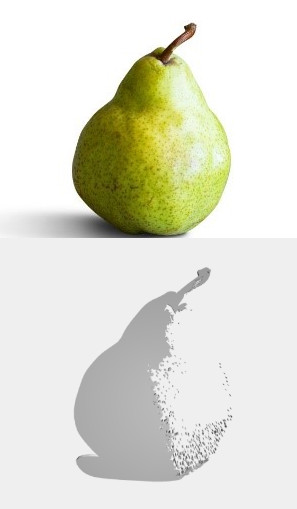 Above: Image of a pear—clean background with a simple shape. Below: Gradient 3D rendering with a medium threshold. (Image courtesy of the author.)