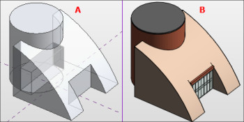 Figure 5 A and B: Left: initial design stages using massing tools, right: refined design as system components. (Image courtesy of the author.)