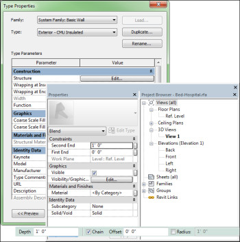 Figure 6. Revit properties pallet and toolbar. (Image courtesy of the author.)
