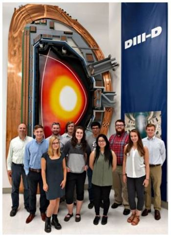 These 2016 GA undergraduate interns in fusion science and plasma physics continued a program so successful it has generated second- and third-generation scientists. Pictured here at DIII-D National Fusion Facility in San Diego. (Image courtesy of General Atomics)