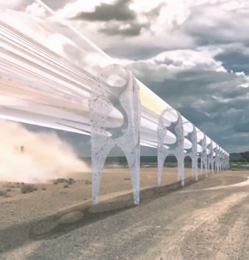 A conceptual rendering showing two unidirectional Hyperloop tubes welded together to create a bidirectional route. (Image courtesy of CNN/YouTube.)
