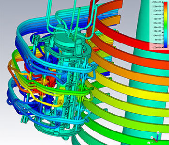 Simulation depicts the dielectric breakdown of an on-load tap changer transformer. (Image courtesy of CST.)