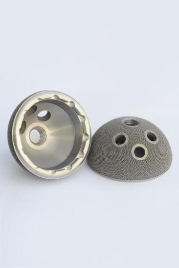 3D-printed trabecular hip implant with porous structure for bone growth. (Image courtesy of 3D Systems.)