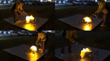 Trial by fire: a team member lights FAROS up to test its fireproof capabilities. (Image courtesy of KAIST.)
