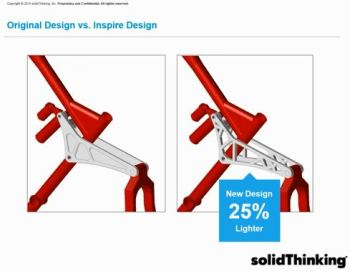 Part is much lighter thanks to Inspire. Image courtesy of solidThinking.