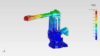 Contours of displacement are shown for a robot arm modeled using ANSYS AIM.