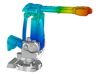 Robotic arm stress simulation performed by AIM. (Image courtesy of ANSYS.)