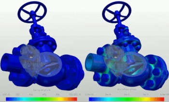 Temperature and stress distribution of a stop valve under thermal shock from a hot fluid flow. (Image courtesy of SimScale).