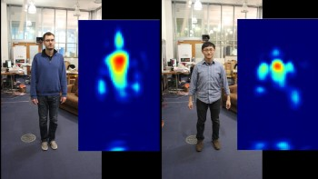 "By testing different human subjects and using metrics such as height and body shape to create ""silhouette fingerprints,"" researchers can use wireless reflections to differentiate between individuals on the other side of a wall. (Image courtesy of Fadel Adib/CSAIL.)"