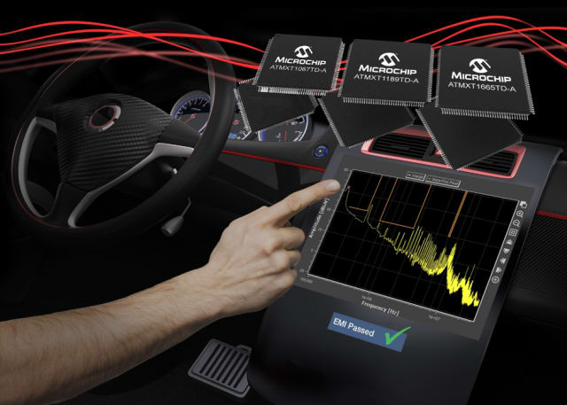 maXTouch touchscreen controllers. (Image courtesy of Microchip.)