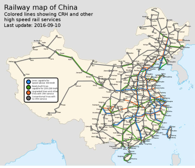 China's railway system. (Image courtesy of Wikipedia.)