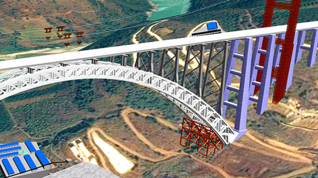 BIM model of Dali-Ruili Railway bridge. (Image courtesy of Bentley.)