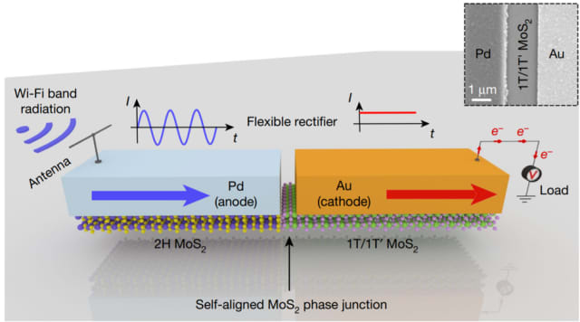 A flexible rectenna based on a 2D self-aligned MoS2-heterostructure Schottky diode.(Image courtesy of Nature Research.)